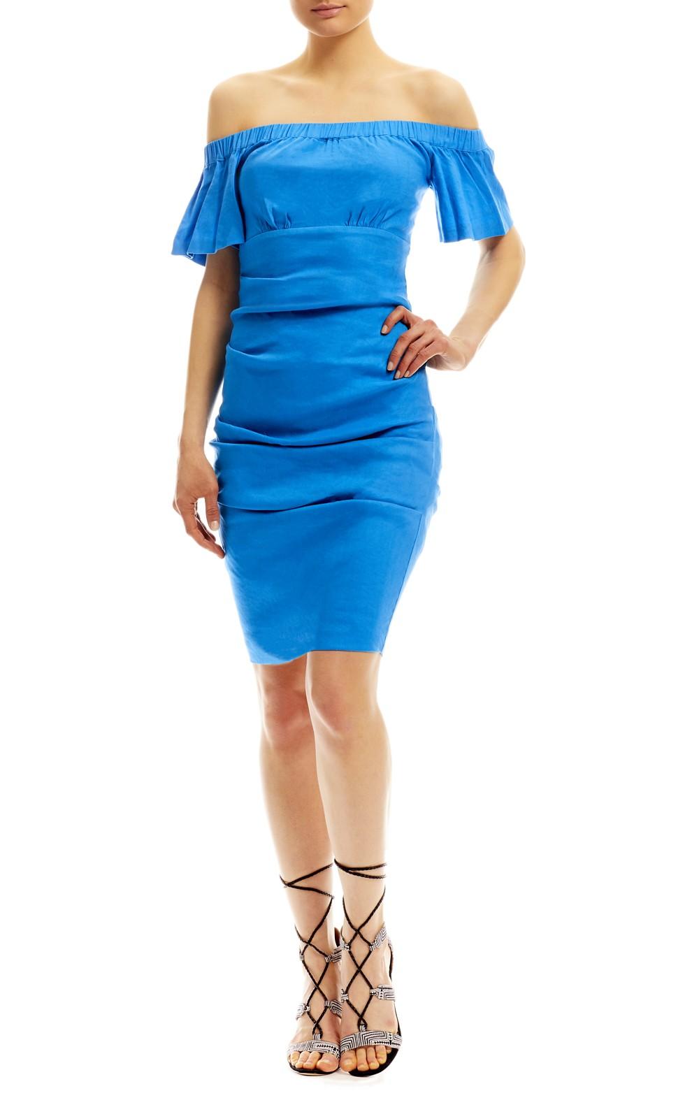 Nicole Bakti One Shoulder Long Sleeve Velvet Midi Dress