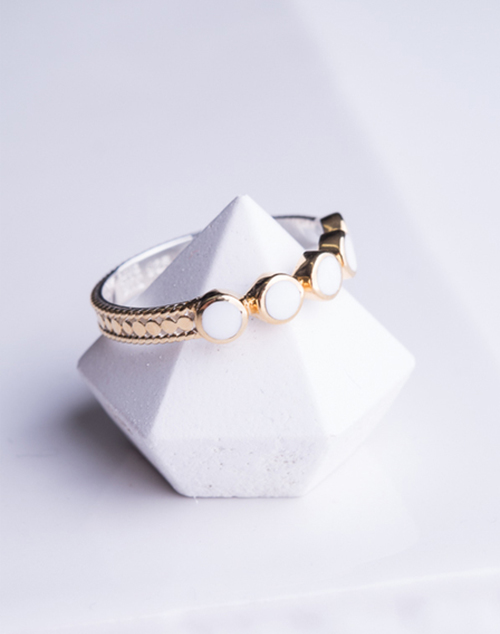 """""""Clarity"""" White Agate Multi Stone Stack Ring"""