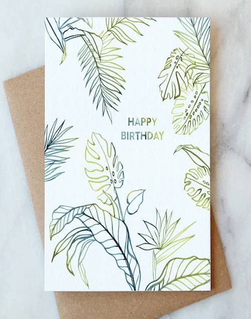 Outline Leaves Birthday Card